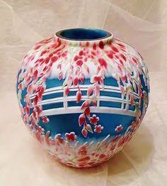 Fenton Le Sand Carved Cameo Art Glass 'Giverny' Ginger Jar Vase Murphy   eBay