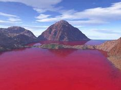 Blood Lake, Texas, USA. A product of drought. Red bacteria thrive in the oxygen-poor water of a drought-shrunken Texas lake.
