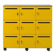 Funki lockers are mobile. They are available in six, nine or twelve door units. The carcass is melamine and the doors are sprayed MDF.