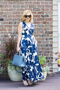 Navy Floral Maxi Dress Love - Kathrine Eldridge, Wardrobe Stylist Summer Maxi, Summer Outfits, Summer Dresses, Tie Dye Dress, Wrap Dress, Navy Floral Maxi Dress, Wrap Style, Navy And White, Stylists