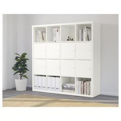 IKEA - KALLAX, Shelf unit with 8 inserts, white, Two people are needed to assemble this furniture. Use fasteners suitable for the walls in your home. Etagere Kallax Ikea, Ikea Kallax Shelf Unit, Ikea Kallax Regal, Plastic Shelving Units, Kallax Insert, Ikea Deco, Ikea Family, Minimalist Home Decor, Cube Storage