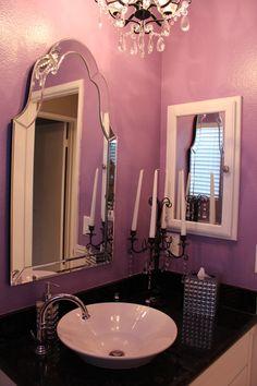 Purple bathroom candelabra the candelabra was the for Girly bathroom ideas