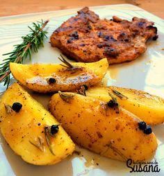 Patatas al romero horneadas en el microondas. Receta fácil baja en calorías