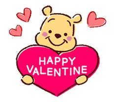 LINE Official Stickers - Animated Winnie the Pooh Speech Balloons Example with GIF Animation Happy Valentine Gif, Valentines Gif, Valentines Day Drawing, Disney Valentines, Valentine Hearts, Winnie The Pooh Gif, Winnie The Pooh Friends, Gifs, Disney Pixar