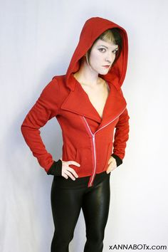 Little Red Riding Hoodie Jacket Punk Motorcycle Asymmetrical. $54.00, via Etsy.