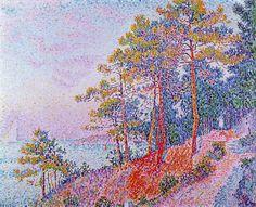Au-dessus de Saint-Tropez, le sentier Customs House, huile de Paul Signac (1863-1935, France)