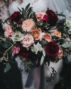 2019 Most Popular Wedding Colors for Fall and Winter--marsala/burgundy wedding bouquets, Fall Wedding Flowers, Wedding Flower Inspiration, Bridal Flowers, Autumn Wedding, Floral Wedding, Wedding Colors, Maroon Wedding, Burgundy Wedding, Our Wedding