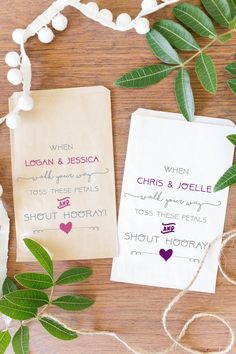 Custom Petal Toss Wedding Bags Custom Favor by CreativePartyDesign