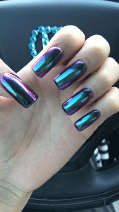 Chrome beetle purple blue green black nails