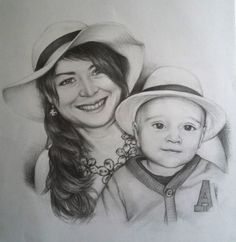 Graphite portrait of Lucy and her little son