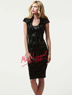 Sequined Little Black Dress | Mac Duggal 76640R