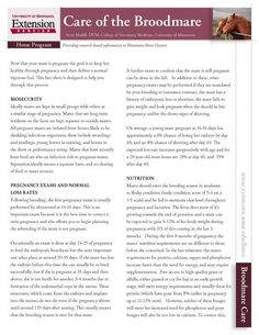 This fact sheet, authored by equine reproduction expert Dr. Scott Madill, will help your optimize the health of your broodmare (http://www.extension.umn.edu/distribution/livestocksystems/DI8462.pdf).