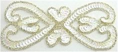"""Designer Motif with White Sequins and Silver beads 5.5"""" x 2.5"""""""