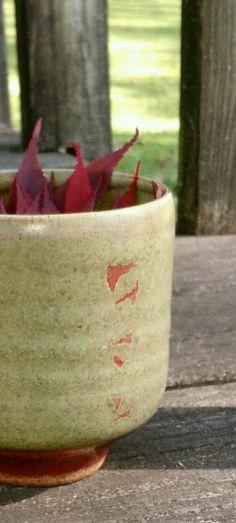 Peter Sparrey   Tea Bowl   Teabowl   Sang De Bouf Copper Red Brushwork   Falling Leaf Design