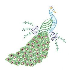 Stamped White Quilt Blocks Peacock Package contains six (cut size) quilt squares of cotton/poly broadcloth stamped in blue ink. Create a beautiful quilt top using this great kit. It consists of individual squares Peacock Quilt, Peacock Art, Peacock Colors, Peacock Feathers, Embroidery Stitches, Embroidery Patterns, Hand Embroidery, Cushion Embroidery, Embroidery Transfers