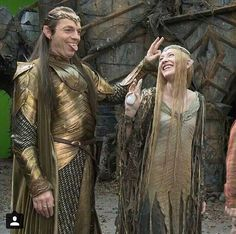 The Hobbit: the Battle of the Five Armies - behind the scenes BTS - Hugo Weaving (Elrond) and Cate Blanchett (Galadriel)