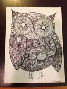 Sharpie zentangle of an owl. #zendoodle #zentangle #sharpieart #diy #art #sharpie #owl #hoothoot
