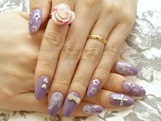 Japanese 3D nail 3D nail pastel goth cross flower by Aya1gou