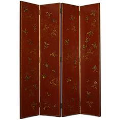 Shanxi Butterfly Screen in Red Lacquer