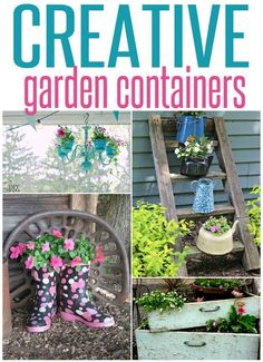 Creative Flower Pot Ideas ~ Think outside the traditional planter with these creative repurposed planter ideas! You probably have items in your home you could upcycle into a planter! Diy Garden Projects, Diy Garden Decor, Garden Ideas, Garden Fun, Diy Decoration, Indoor Garden, Art Projects, Container Plants, Container Gardening