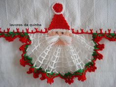 As Receitas de Crochê: Pano de prato com Papai Noel de croche