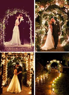 This could be lanterns with candles or it could be candelabra at the end of each row and winding down to the water where you do the vows