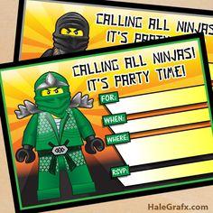 ninjago party invites FREE Printable LEGO Ninjago Birthday Invitation set