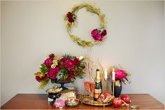 New Year's Eve decor and a pomegranate champagne cocktail