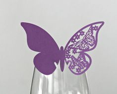 50 table cards place cards Butterfly purple by Pandorada on Etsy Papillon Violet, Wedding Decorations, Table Decorations, Table Cards, Wedding Table, Place Cards, Paper Crafts, Butterfly, Shapes