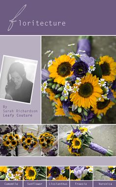 Floritecture, Leafy Couture, Wedding Flowers, Wedding Bouquet, Sunflowers, Purple, Yellow, Lissianthus, Freesia, Sunflower, Veronica, Camomile, Mini Daisy
