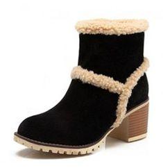 Women's Warm Non-slip Round Toe Dress Block Mid Heel Slip On Ankle Snow Boots Booties Shoes