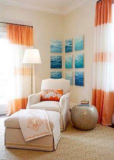 Orange And blue living room ideas
