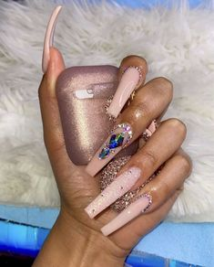 Long Square Acrylic Nails, Acrylic Nail Designs Coffin, Bling Acrylic Nails, Aycrlic Nails, Summer Acrylic Nails, Best Acrylic Nails, Sparkle Nails, Hot Nails, Swag Nails