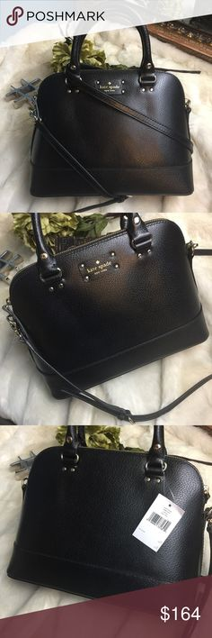 "NWT Kate Spade Small Rachel Wellesley bag in Black NWT Kate Spade Small Rachel Wellesley bag in Black   New with Tags and never worn Kate Spade Bag.  This has a cross body strap and can be carried as a satchel.  Absolutely stunning!   12.5"" x 5"" x 9.5"" 4.5"" top handle drop   ••C1 As always I follow all Postmark rules.  No offline transactions, Everything is Authentic and I do not trade. I do take offers, but please make all offers through the offer button - lots of love girls! kate spade…"