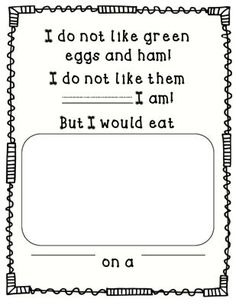 Green Eggs and Ham FREEBIE from Perfectly Preschool on TeachersNotebook.com -  (1 page)  - Use this page as a writing activity to go along with the book.