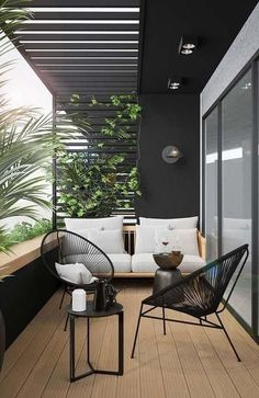 modern outdoor seating area, modern outdoor furniture, modern outdoor living room with outdoor sofa and black house Small Balcony Design, Small Balcony Decor, Terrace Design, Balcony Decoration, Modern Balcony, Modern Pergola, Small Terrace, Home Decoration, Art Decor