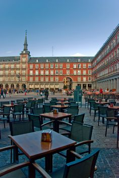 My Madrid...Plaza Mayor  A large open meeting area where the likes of Hemingway used to drink and eat.  They don't even start serving dinner until 10:00.  You sit and talk.  But when I was there it was still under communist reign and there were alot of armed men around.  But still beautiful.