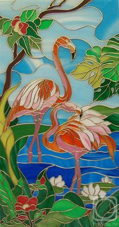 Stained Glass by Vyachina Nataliya flamingos Stained Glass Paint, Stained Glass Birds, Stained Glass Designs, Stained Glass Panels, Stained Glass Projects, Stained Glass Patterns, Glass Painting Patterns, Glass Painting Designs, Paint Designs