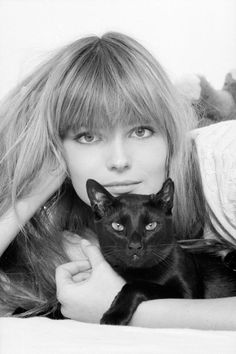 Paulina Porizkova, super model and wife of Ric Ocasek of the Cars, with an incredibly gorgeous blsck kitty