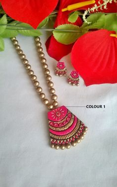 Gold & Pink Pendant Set