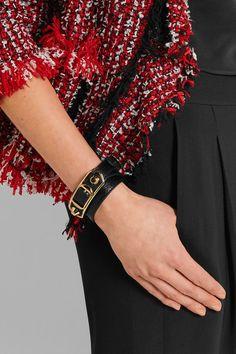 BALENCIAGA fashionable Triple Tour textured-leather and gold-tone bracelet Bohemian Fashion, Bohemian Style, Balenciaga Bracelet, Boutique, Texture, Luxury, Bracelets, Leather, Gold