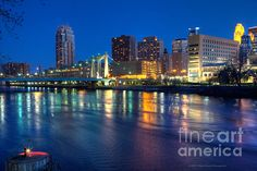 Prints available from $17 Downtown Minneapolis Skyline Hennepin Avenue Bridge