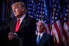 The Republicans' long con: Donald Trump speaks as his running-mate, Mike Pence, looks on at his election night party early Wednesday morning in New York, Nov. 9, 2016. (Photo: Damon Winter / The New York Times)