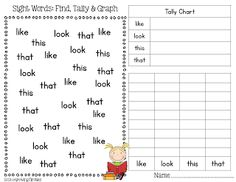 Freebie - Sight Word Find, Tally, Graph (using visually similar sight words)-use with tricky words and look in books Teaching Sight Words, Sight Word Practice, Sight Word Activities, Sight Word Games, Writing Practice, Writing Activities, Measurement Activities, Spelling Activities, Math Resources
