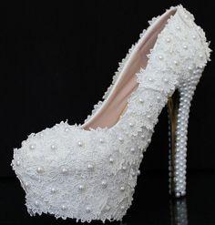 Wedding Shoes Ivory Women Pumps High Heel Lace Rhinestone Pearl 2015
