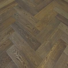Fumed Stained Oak Herringbone  Brushed and Oiled 150mm x 14mm x 600mm