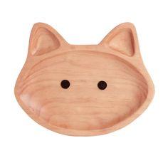 kids wooden plate / cat