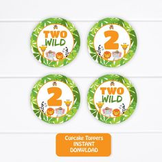 Printable Safari Cupcake toppers, Two Wild Cake toppers, Jungle Two Wild 2 inches Round Stickers, 2nd Birthday Safari Tags INSTANT DOWNLOAD
