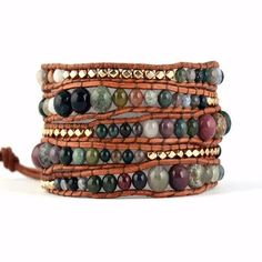Indian Agate Wrap Bracelet