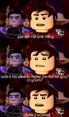 """Ninjago Kai asking Skylor, """"...Was it his idea to make me fall for you, or yours? 'Cause it worked."""" :'("""